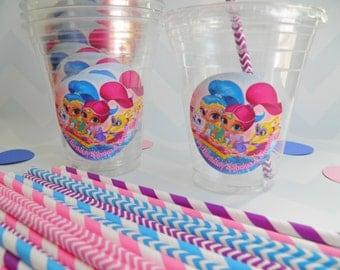 Set of 24 - Shimmer and Shine Party Cups, Lids & Straws