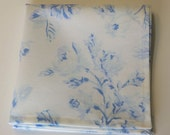Something Blue Handkerchief,  Blue and  White Wedding Hankie, Floral Hankie, ladies hankie, Handmade in the USA