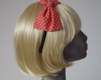Pink Headband, Pink Bow Headband, Pink Polka Dot Bow Headband (Coral), Pink Bow Aliceband, Pink Hair Bow, Pink Hair Accessories