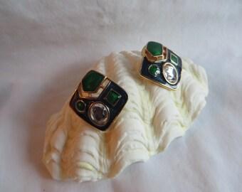 Green Post Earrings, Earrings, Green, Post