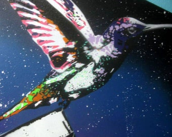 Spray Painted Calm like a Bomb - Original Hand Cut Stencil Painting of Hummingbird w/ Nuclear Bomb in Night Sky