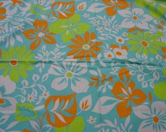 "Vintage Fabric, Fabulous Cotton Flower Power Print c.1950's-60's, 1 1/2 Yard, 36"" Wide"