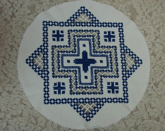 """Circle of Norwegian Hardanger Embroidery for Crafts, Pillow, ? Royal Blue on White 11"""""""