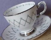Vintage Atomic Age tea cup and saucer, Tuscan Mid Century Modern teacup, English tea cup, silver tea cup, bone china teacup, Wedding gift