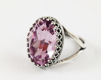 Antique Silver Light Amethyst Ring - Swarovski Crystal June Birthstone Oval Ring - Large Statement Light Purple Cocktail Ring