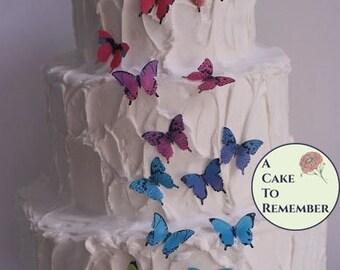 "28  1"" edible butterflies unique wedding cake topper, cake decorating, cupcake decorating, cake pops, wafer paper butterflies."