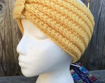 Turban Style Headband, Crochet Turban Headband, Wool