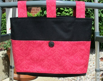 Adult Woman Walker Bag Tote Caddy – Solid Coal Black w/Coral Print Pockets and Straps. Black Button