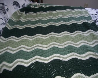 Shades of Green Handmade Afghan