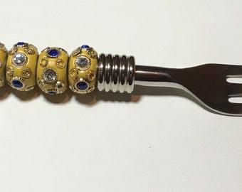 Beaded appetizer utensil & bowl fork rhinestone yellow and blue beads