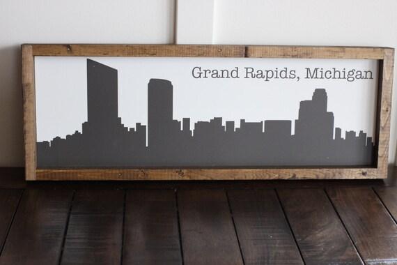 Grand Rapids City Line Sign Grand Rapids Art Wood Sign
