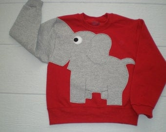 Red Childrens Elephant Trunk sleeve sweatshirt,  sweater, elephant jumper, KIDS small or  large, Special Deal