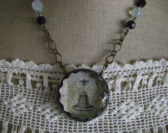 Vintage Silhouette Bee and Skep  Necklace Glass Pendant