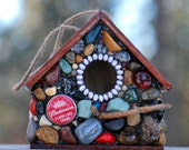 Mosaic Birdhouse beer caps King of beer gift for him red birdhouse Budweiser lover beer lover