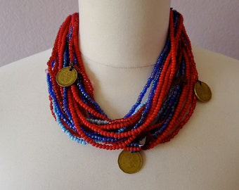 Ethnic trade Bead necklace/choker coins charms red blues greens orange clear black - Chiapas Mayan adjustable ties 16#A