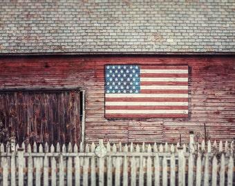 Farmhouse Decor, Americana Art, American Photography, Flag Picture, Flag Print, Folk Flag Decor, Red White and Blue, Barn Art American Flag.