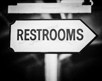 Restroom Sign Print or Canvas Wrap, Black and White Bathroom Decor, Saratoga Race Course Picture, Art for Bathroom, Vintage Bathroom Art.