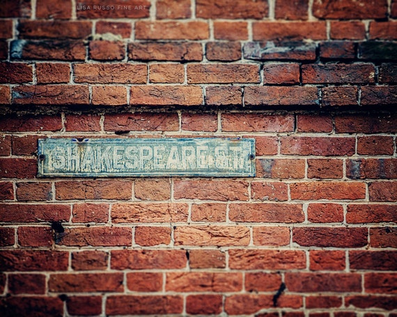 Graduation Gift, Teacher Gift, Shakespeare Street, Baltimore Print or Canvas Wrap, Fell's Point Maryland Picture, Rustic Home Decor.