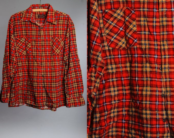 Large Vintage Flannel Red Yellow Oversized | Grunge Shirt 90s | Plaid 6BB