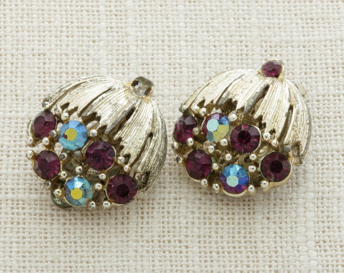 Purple Rhinestone Vintage Earrings Cluster Gold Lisner Iridescent | Clip On Earings | Costume Jewelry | True Vintage 16A