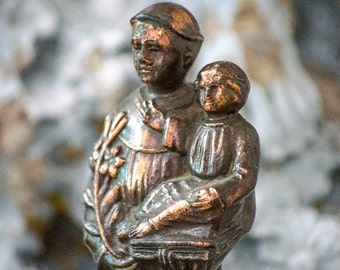 Antique FRENCH St Anthony and Christ Child Statue, Spelter, From France