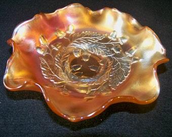 Fenton Marigold Carnival Glass Acorn amd Leaf Bowl