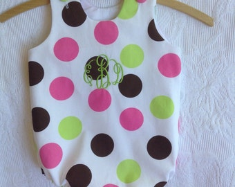 Girls Polka Dot Bubble, FREE MONOGRAM, onesie, one piece suit, romper, beach wear, beach, pink, green, polka dot, colorful