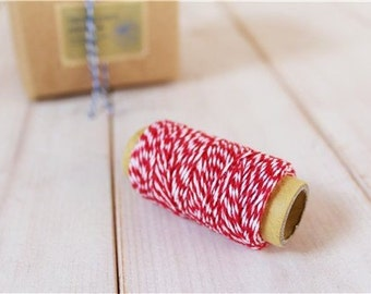 Striped Baker's Twine {20m}  22 yards cotton string {4 ply} fun gift wrapping craft twine