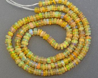"""16"""" Ethiopian Opal Beads 30 cts Natural Smooth Rondelle 3.3 mm to 4.00 mm"""