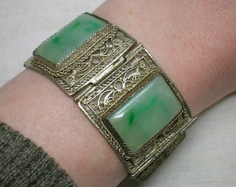 Antique Chinese Jade & Silver Plated Bracelet: Jadeite Panels, Filigree