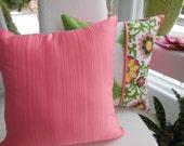 Paisley Flower Pillow - Green Pillow - Ikat Pillow - Coral Texture Pillow - Reversible Pillow - Green, Coral, Yellow Pillow - Girls Bedroom