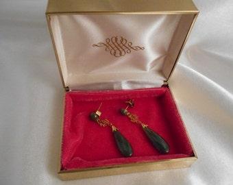 Jade Drop Earrings Oriental Gold Vintage Estate Jade Earrings Original Jewelry Box Dangle Earrings 14K Gold Calligraphy Round Cabochon Jade