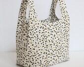Reusable Grocery Bag, Market Tote, Shopping Bag, Polka Dot Tote