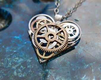 "Gear Heart Necklace ""Nesbit"" Clockwork Watch Steampunk Industrial Heart Pendant Sculpture Gershenson-Gates Mechanical Mind Gift Idea"