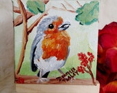 Little Robin Bird Oil Painting on Miniature Canvas - Magnet or Decor