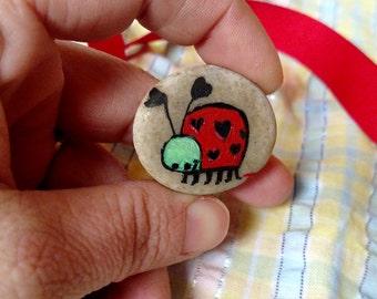 Miniature Love Bug Lady Bug Painted Rock - Whimsical Original artwork