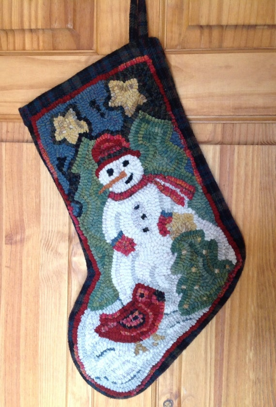 Rug Hooking PATTERN, Snowman and Cardinal Stocking, P109, Christmas Stocking, DIY Rug Hooking Pattern