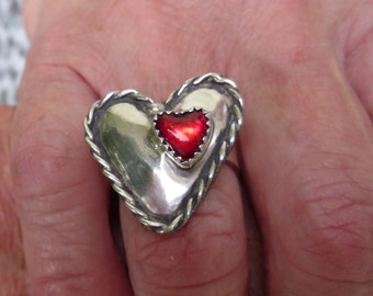 R50--Double Heart Ring--size 7.5--FREE SIZING-- Sterling Silver Ring-- Gemstone, Vintage Style -Handmade