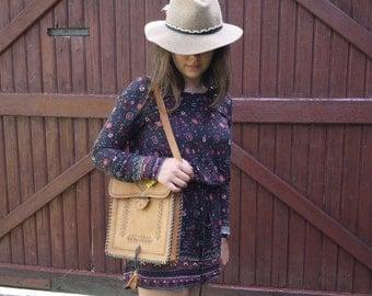 French Vintage Leather hand tooled Shoulder bag crossbody messenger bag saddle bag 1970s