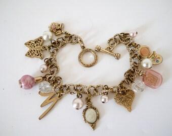 French Vintage bracelet girly feminine charms pink