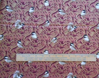 Fabric 1 Yard Chickadees & Berries Birds Metallic Paisley Red Benartex Quilting Cotton