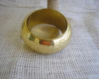 Gold Tone India Brass Hammered Wide Bangle Chunky Boho Bracelet Retro Jewelry  Mod Costume Jewelry Vintage Jewelry Vintage in paradise