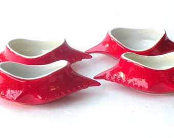 Vintage Red Crab Baking Dish -12 Available- HALL Conch Shell Dishes- Porcelain Top Selling