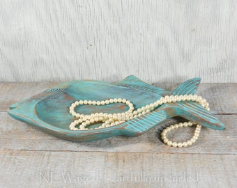 Shabby chic fish shaped Wood bowl, jewelry holder, jewelry tray, distressed turquoise beach decor