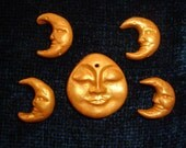 Set of 5 Gold Burnished Polymer Clay Moon Beads