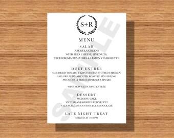 Elegant Wedding Reception Dinner Menu, Printable Wedding Dinner Menu, Simple Dinner Menu for your Special Event, Monogramed Dinner Menu