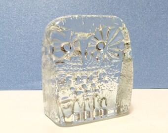 Vintage Blenko DAS Owl Paperweight 3.25 Inch Mid Century Modern Clear Art Glass Don Shepherd Ice Floe Line