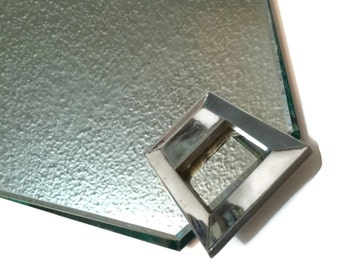 Vintage Art Deco Hollywood Regency Chrome and Mirror Vanity Tray, canted corners
