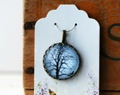 """Tree with Tiny Crow Pale Blue Background Vintage Inspired Brass and Glass Bubble Necklace (#22) - """"Rozie Series"""""""