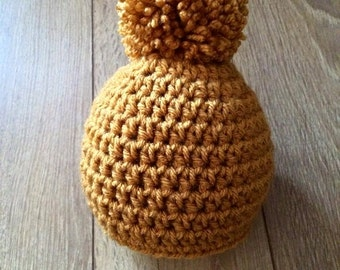 mustard/ yellow/ gold baby pom pom hat, 0-3 month size, newborn photo prop, christmas baby gift, baby shower, birthday gift.